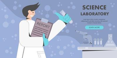 cientista segurando o relatório de pesquisa vetor
