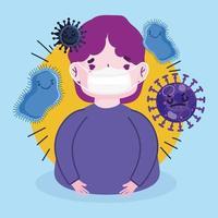 design de cartaz pandêmico 19 com elementos de vírus