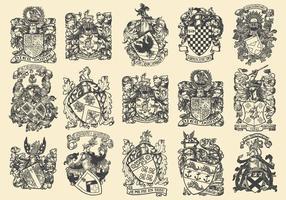 Emblemas heráldicos complexos vetor
