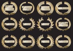 Emblemas premium personalizados com laurel vetor