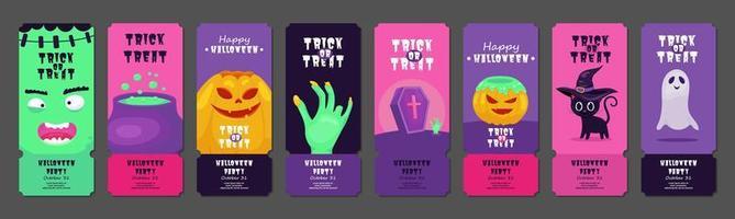 conjunto de bilhetes de festa feliz dia das bruxas vetor