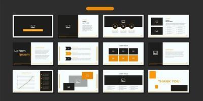 modelo de slide definido em laranja, preto e branco vetor