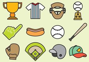 Ícones bonitos do basebol vetor