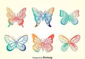 Coleção de borboletas coloridas vetor