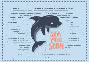 Ilustração plana livre do vetor do golfinho plano