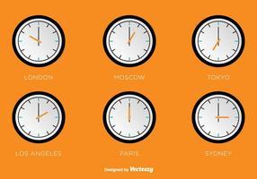 Relógios de vetor de zonas horárias