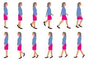 Vector de ciclo de caminhada de mulher livre