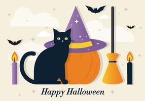 Elementos do vetor do gato do Dia das Bruxas