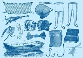 Ferramentas de pesca vintage vetor