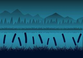 Paisagem livre dos rios da noite com reeds Silhouttes Vector