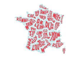 Vetor francês do mapa da palavra dos EUA