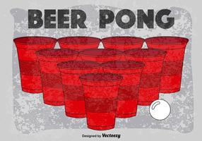 Cartaz retro do vetor do jogo do pong da cerveja