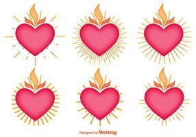 Conjunto de vetores de ícones do coração sagrado