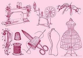 Desenho de moda e costura vetor
