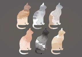 Gatos da aguarela do vetor