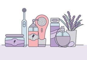 Elementos de cuidado de pele do vetor