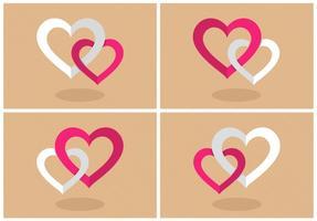 Vetor de corações combinados flat flat