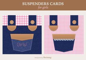 Cartão de felicitações feminino livre do vetor dos suspensórios