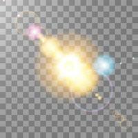 efeito de luz de reflexo de lente especial de luz solar colorida vetor