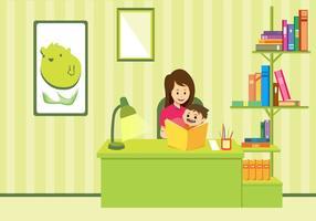 Arte do vetor do estudo da mãe e da criança
