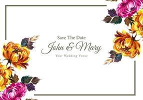 quadro de flores de canto diagonal de convite de casamento vetor