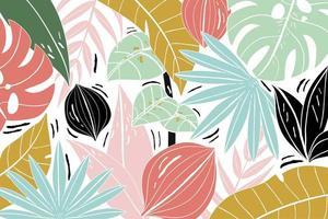 composição padrão de folhas tropicais coloridas vetor