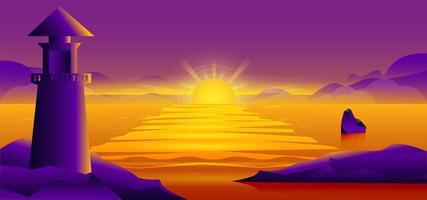 farol com design do sol vetor