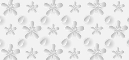 3 d branco gradiente de flores e folhas padrão vetor