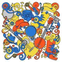 país doodles conjunto de festival de música ocidental vetor