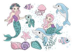 conjunto de desenhos animados de sereia e mar criatura vetor