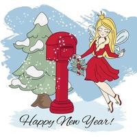 ano novo fada natal dos desenhos animados vetor