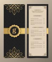 layout de menu de luxo com elementos decorativos. vetor