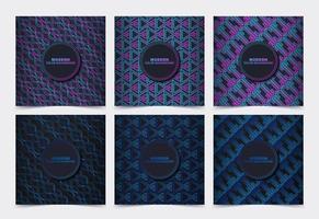 conjunto de cartão de padrão de cor gradiente escuro vetor