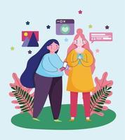 mulheres jovens usando smartphone bate-papo compartilhamento de site de imagens vetor
