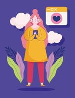 jovem mulher com bate-papo de mensagem romântica de smartphone vetor