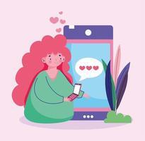 jovem mulher com smartphone sms amor romântico vetor