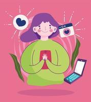 jovem mulher usando smartphone falando bolha amor dos desenhos animados vetor