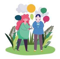 jovem e mulher usando bolhas do discurso de smartphone vetor