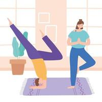 homem, mulher praticando diferentes poses de ioga