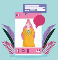 jovem mulher com smartphone mensagens de texto conversando vetor