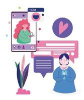 jovem e mulher conversando com dispositivos de smartphone vetor
