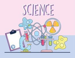 ciência microscópio medicina átomo nuclear molécula prancheta e bactérias