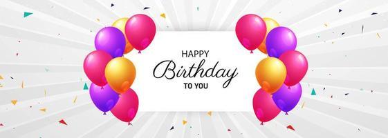 cartão de feliz aniversário com balões vetor