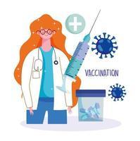 médica com pílulas e vacinação