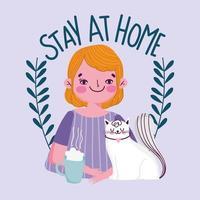 jovem com cartaz de quarentena de xícara e gato de café