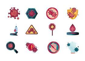 parar o conjunto de ícones de coronavírus vetor