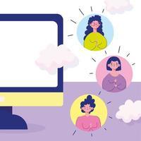 reunião on-line com avatrs de membros da comunidade