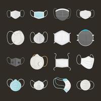 conjunto de máscara médica de estilo cartoon