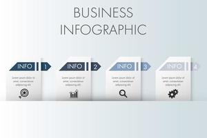 modelo de infográfico de negócios de etiqueta de papel vetor