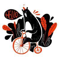 urso andando de bicicleta dizendo olá vetor